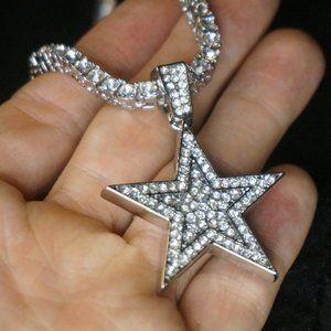 "Diamond CZ Star Pendant (20"" Tennis/Rope Chain)"